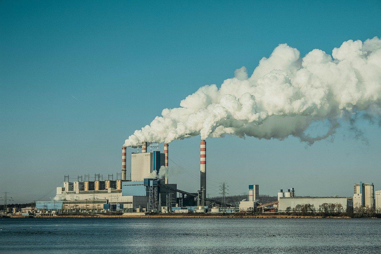 power station, smoke, smog